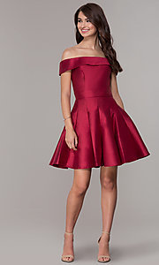 Image of satin a-line off-the-shoulder short homecoming dress. Style: JT-799 Detail Image 1