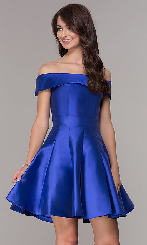 Image of satin a-line off-the-shoulder short homecoming dress. Style: JT-799 Front Image