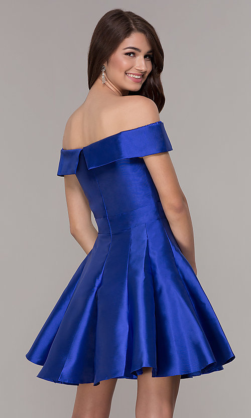 Image of satin a-line off-the-shoulder short homecoming dress. Style: JT-799 Back Image