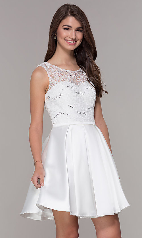 Image of corset-back short lace-bodice homecoming dress. Style: JT-807 Front Image