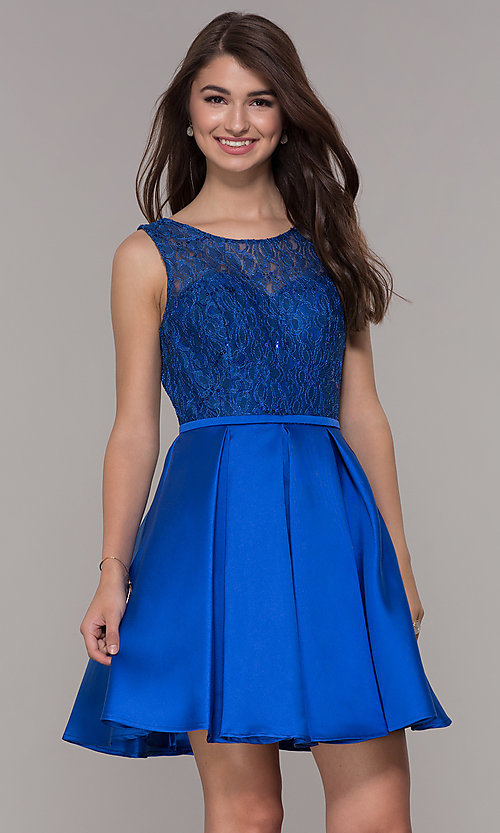 Image of corset-back short lace-bodice homecoming dress. Style: JT-807 Detail Image 2