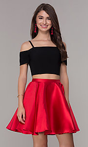 Image of cold-shoulder two-piece short homecoming dress. Style: JT-809 Front Image