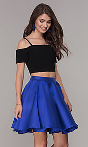 Image of cold-shoulder two-piece short homecoming dress. Style: JT-809 Detail Image 2