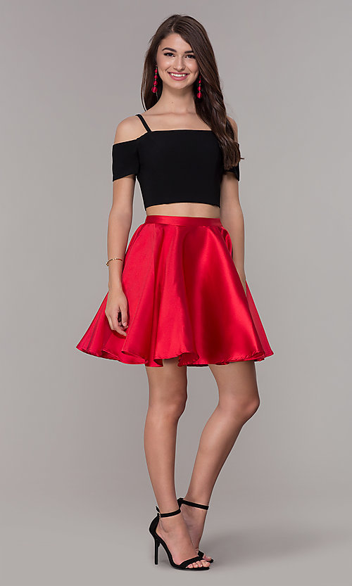 Image of cold-shoulder two-piece short homecoming dress. Style: JT-809 Detail Image 1
