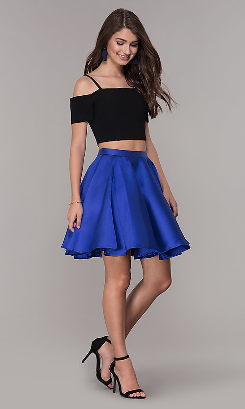 Image of cold-shoulder two-piece short homecoming dress. Style: JT-809 Detail Image 3