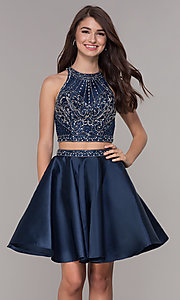 Image of navy blue short two-piece homecoming dress. Style: JT-811 Front Image