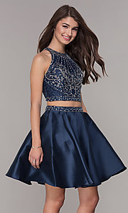 Image of navy blue short two-piece homecoming dress. Style: JT-811 Detail Image 1