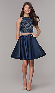 Image of navy blue short two-piece homecoming dress. Style: JT-811 Detail Image 2