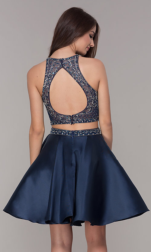 Image of navy blue short two-piece homecoming dress. Style: JT-811 Back Image