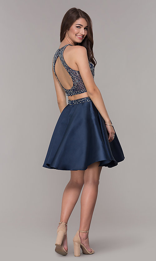 Image of navy blue short two-piece homecoming dress. Style: JT-811 Detail Image 3