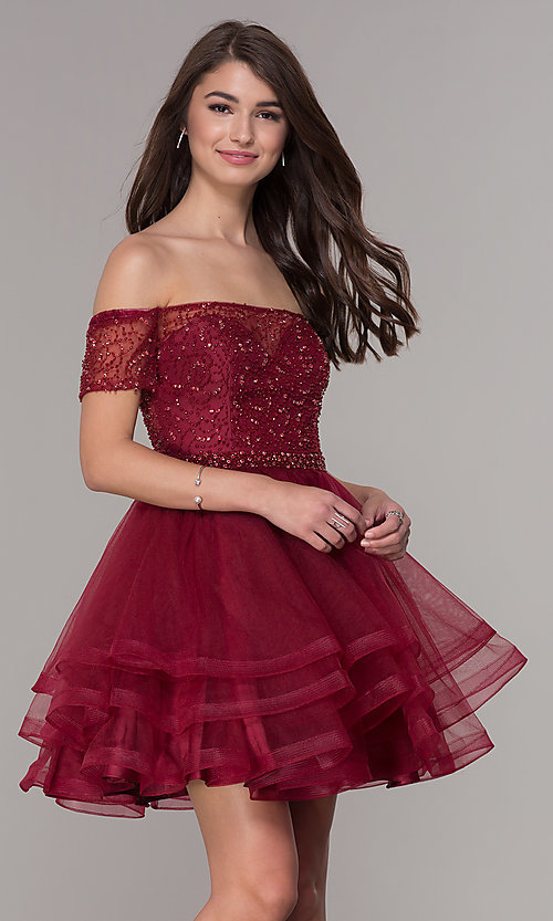 4eb59cc2728a Image of short off-the-shoulder burgundy red homecoming dress. Style: JT