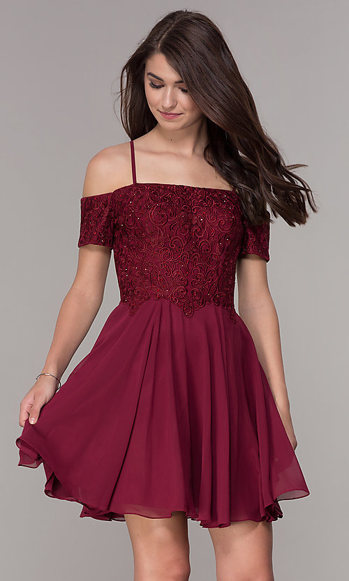 Image of off-shoulder short-sleeve corset homecoming dress. Style: JT-814 Front Image