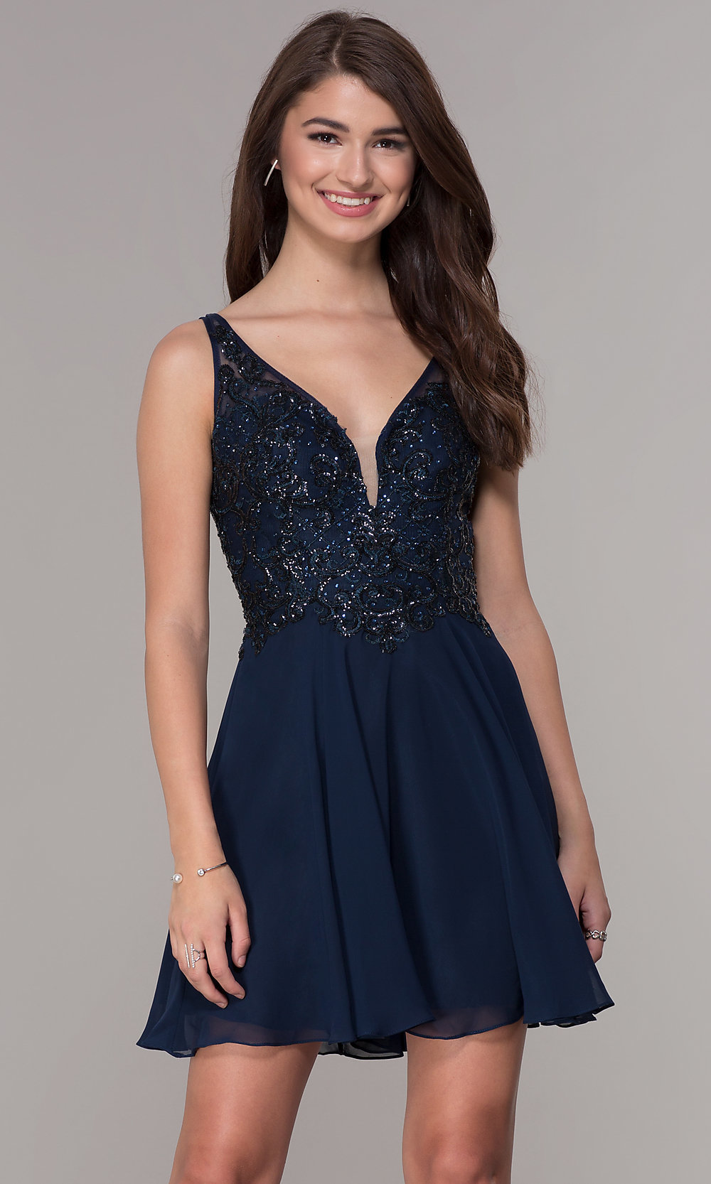 Navy Blue Embroidered,Bodice Short Homecoming Dress
