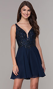 Image of navy blue embroidered-bodice short homecoming dress. Style: JT-819 Front Image