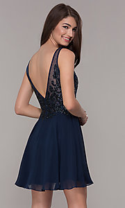 Image of navy blue embroidered-bodice short homecoming dress. Style: JT-819 Back Image