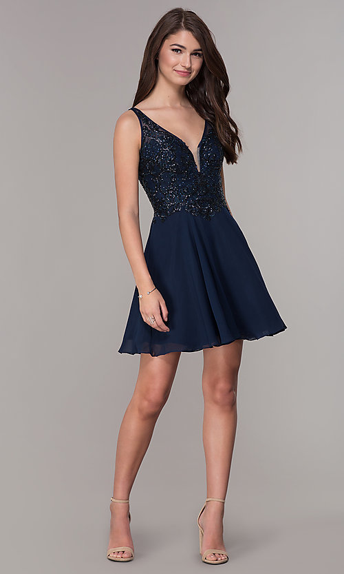 Image of navy blue embroidered-bodice short homecoming dress. Style: JT-819 Detail Image 2