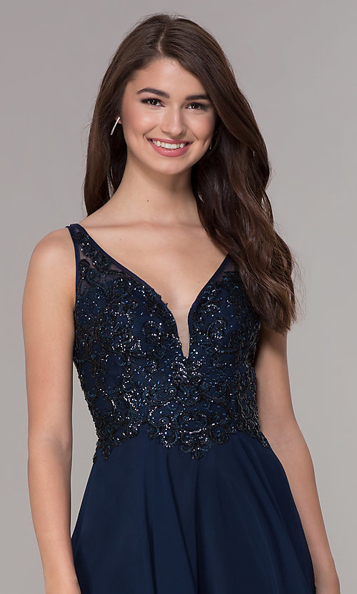Image of navy blue embroidered-bodice short homecoming dress. Style: JT-819 Detail Image 1