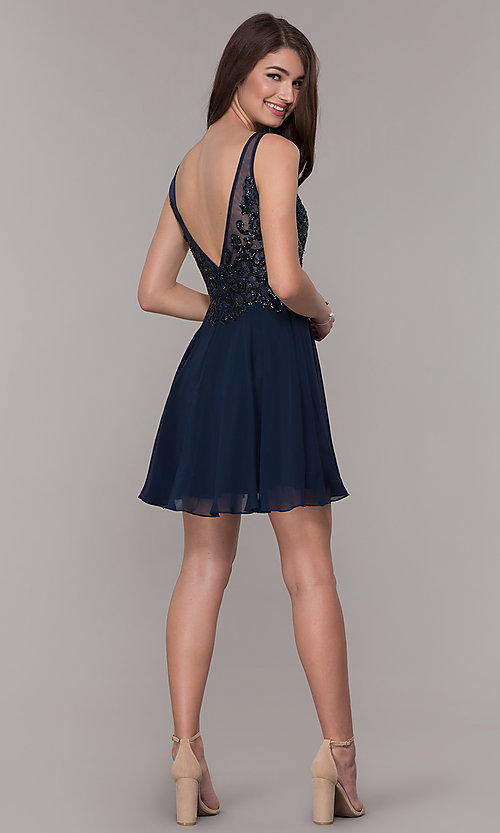 Image of navy blue embroidered-bodice short homecoming dress. Style: JT-819 Detail Image 3