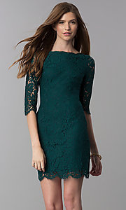 Image of short lace homecoming dress with 3/4-length sleeves. Style: SOI-6068 Front Image