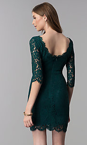 Image of short lace homecoming dress with 3/4-length sleeves. Style: SOI-6068 Back Image