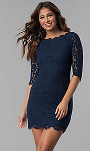Image of short lace homecoming dress with 3/4-length sleeves. Style: SOI-6068 Detail Image 1