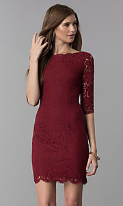 Image of short lace homecoming dress with 3/4-length sleeves. Style: SOI-6068 Detail Image 2