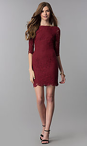 Image of short lace homecoming dress with 3/4-length sleeves. Style: SOI-6068 Detail Image 3