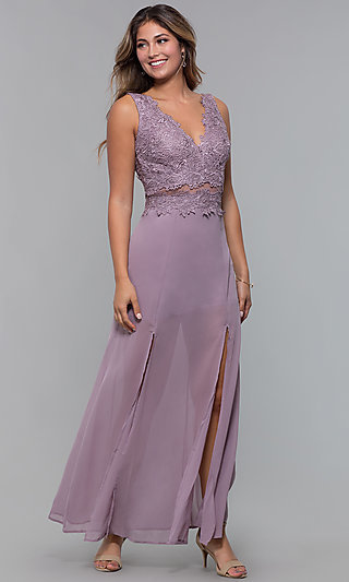 Long Lace-Applique-Bodice Semi-Formal Prom Dress