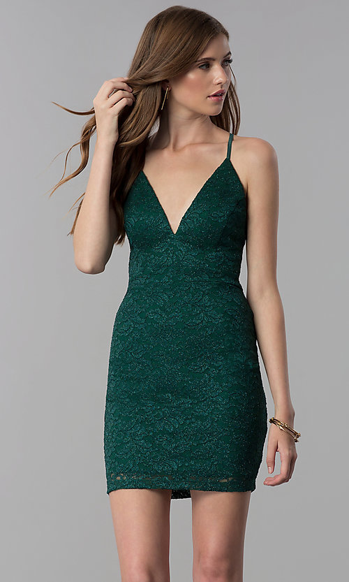 Image of glitter-lace short emerald green party dress.  Style: EM-FQQ-3473-330 Front Image
