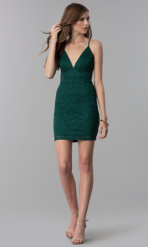 Image of glitter-lace short emerald green party dress.  Style: EM-FQQ-3473-330 Detail Image 3