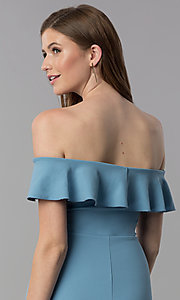 Image of high-low off-shoulder wedding-guest blue dress. Style: EM-FZL-3405-400 Detail Image 2