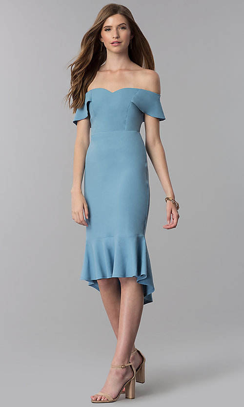 Image of high-low off-shoulder wedding-guest blue dress. Style: EM-FZL-3405-400 Front Image