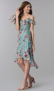 Image of floral-print high-low wedding-guest party dress. Style: EM-FXX-3776-442 Front Image