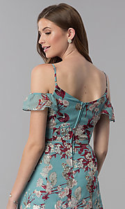 Image of floral-print high-low wedding-guest party dress. Style: EM-FXX-3776-442 Detail Image 2