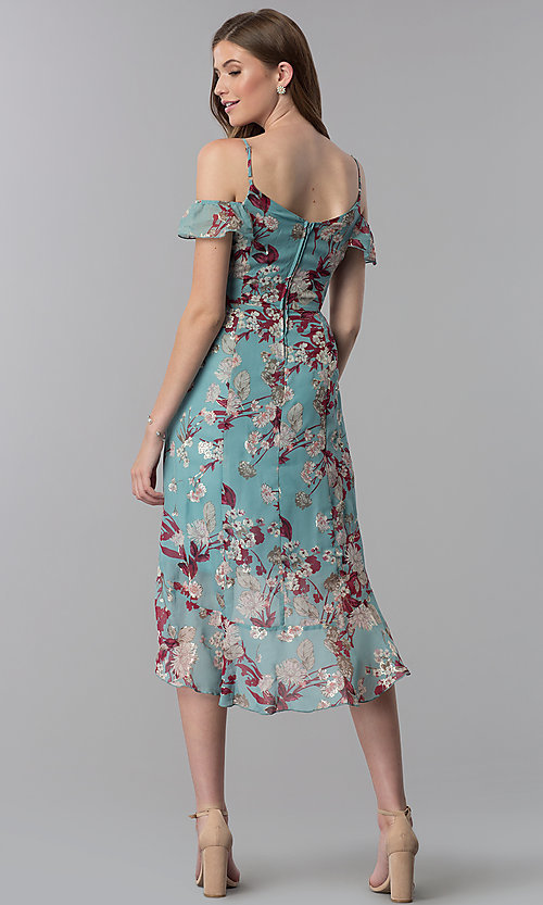 Image of floral-print high-low wedding-guest party dress. Style: EM-FXX-3776-442 Back Image