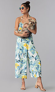 Image of casual sage-print cropped ivory halter jumpsuit. Style: AS-JH-J5050D77G90 Front Image