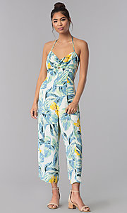 Image of casual sage-print cropped ivory halter jumpsuit. Style: AS-JH-J5050D77G90 Detail Image 1