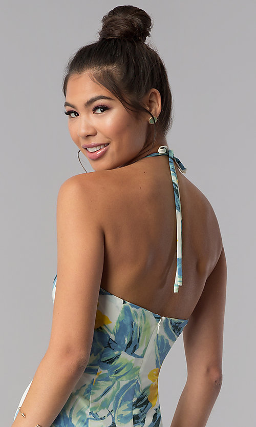Image of casual sage-print cropped ivory halter jumpsuit. Style: AS-JH-J5050D77G90 Detail Image 3