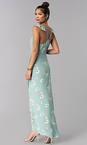 Image of floral-print long faux-wrap casual cruise dress. Style: AS-JH-J512577A62 Back Image