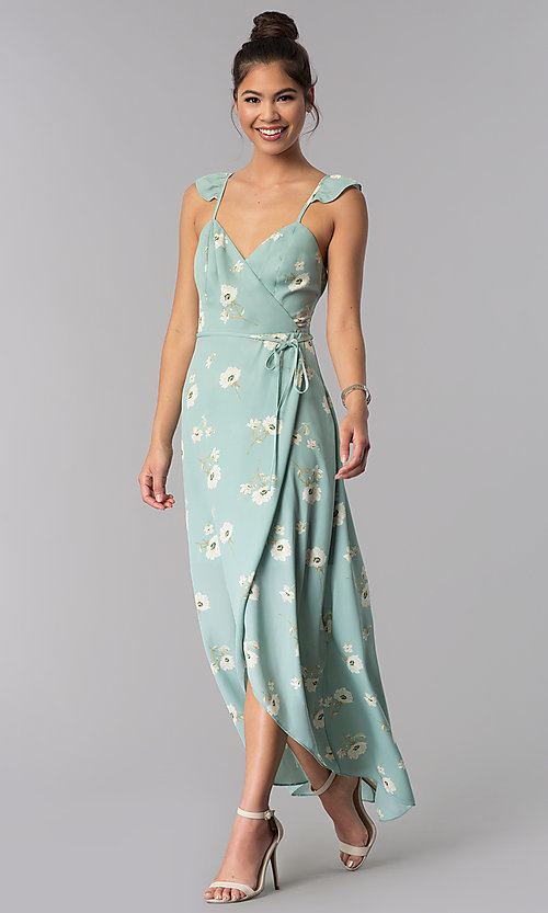 Image of floral-print long faux-wrap casual cruise dress. Style: AS-JH-J512577A62 Front Image