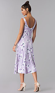 Image of floral-print short lavender casual party dress. Style: AS-JH-J5135D10A59 Back Image