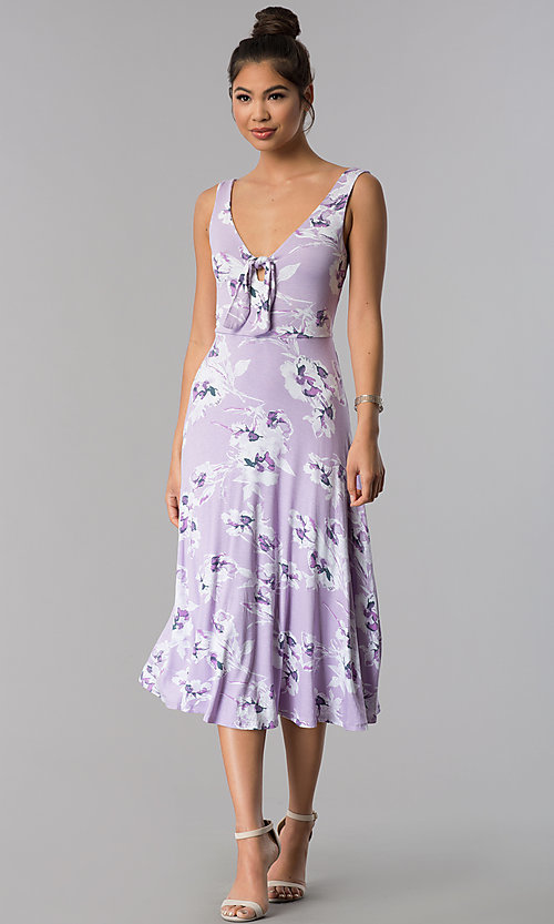 Image of floral-print short lavender casual party dress. Style: AS-JH-J5135D10A59 Front Image