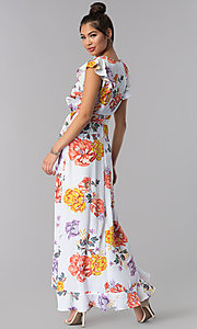 Image of floral-print faux-wrap casual maxi dress. Style: AS-JH-J5146D77H25 Back Image