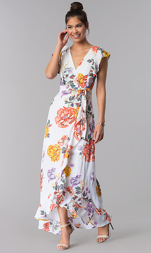 Image of floral-print faux-wrap casual maxi dress. Style: AS-JH-J5146D77H25 Front Image