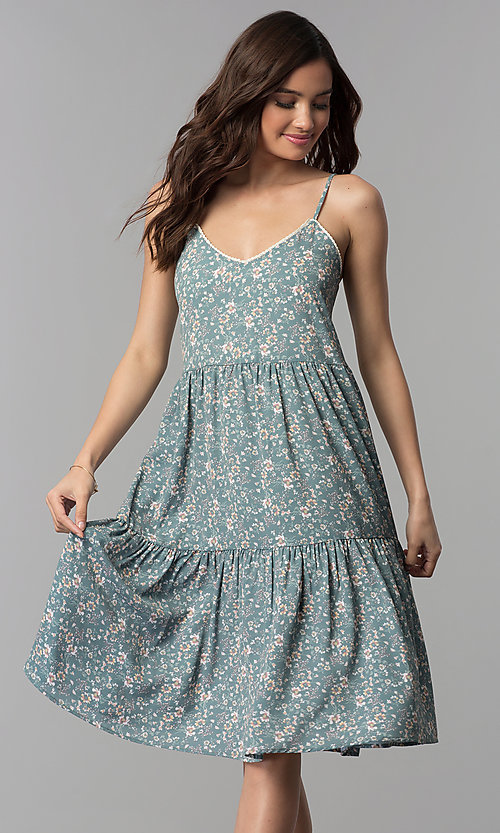 Image of casual v-neck floral-print short cruise party dress. Style: AS-JH-J526745C38 Front Image