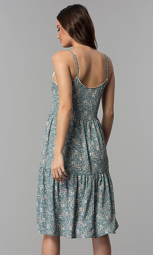 Image of casual v-neck floral-print short cruise party dress. Style: AS-JH-J526745C38 Back Image