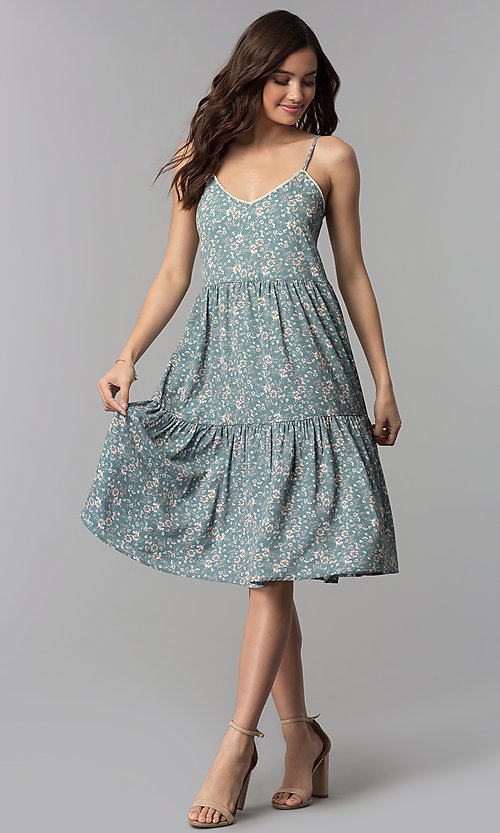 Image of casual v-neck floral-print short cruise party dress. Style: AS-JH-J526745C38 Detail Image 3