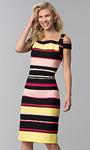 Image of knee-length striped cold-shoulder career dress. Style: ECI-719238-75779 Front Image