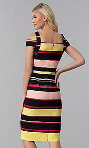 Image of knee-length striped cold-shoulder career dress. Style: ECI-719238-75779 Back Image