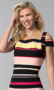 Image of knee-length striped cold-shoulder career dress. Style: ECI-719238-75779 Detail Image 1